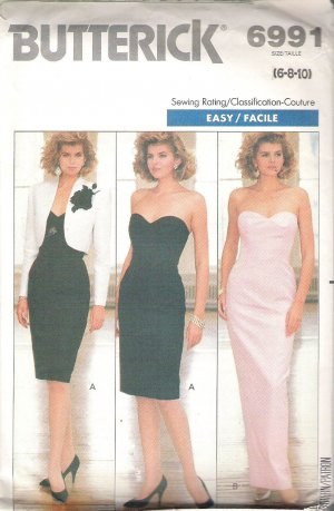 1988 Butterick 6991 Pattern Special Occasion Evening Strapless Dress Jacket  Size 6-10  Part Cut 10