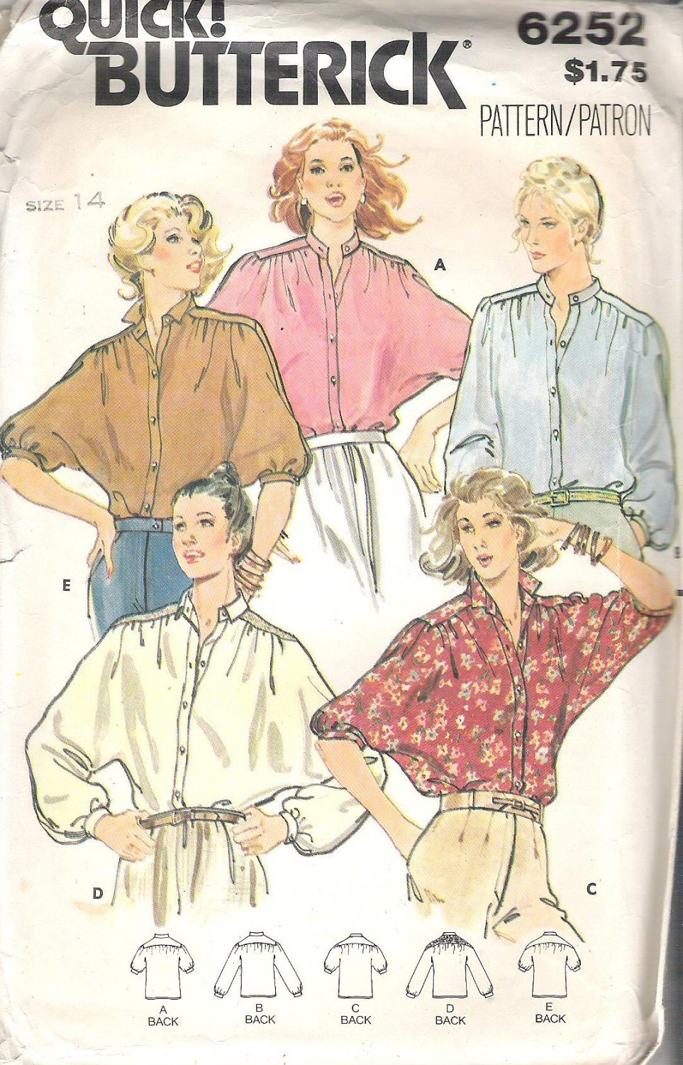 Butterick 6252 Pattern Loose Fitting Blouse Shirt Top with Dolman Sleeves  Size 14  Cut
