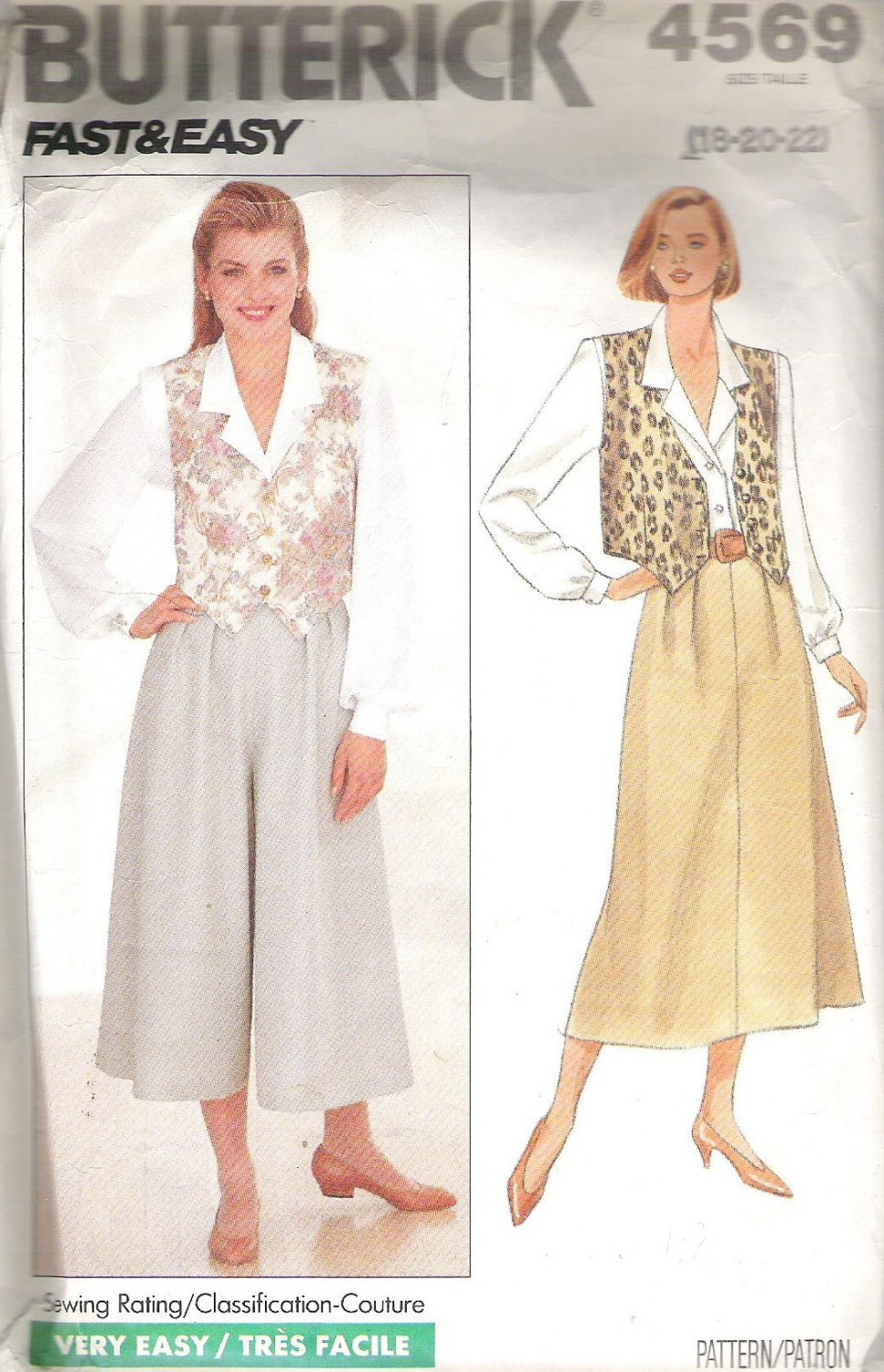 1990 Butterick 4569 Pattern Blouse, Vest, Skirt and Culottes  Size 18-22  Cut to 20