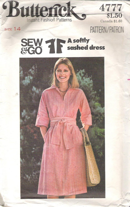 Butterick 4777 Pattern Sew & Go  Softly Sashed Dress  Sizedd 14  Cut