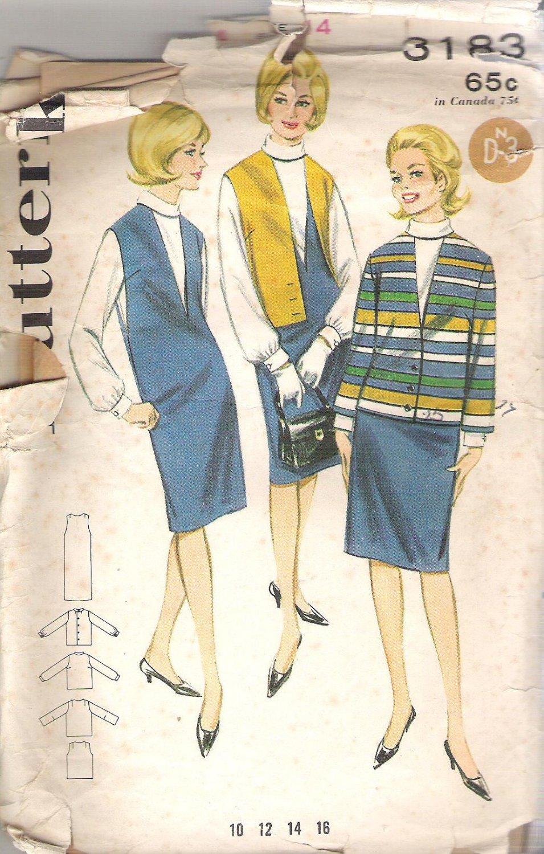 Butterick 3183 Pattern Jumper Dress, Jacket, Blouse Top Shirt  Size14 Cut