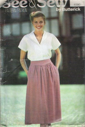 6390 Pattern See & Sew Blouse Shirt Top and Skirt Size 14-18 Cut to 18
