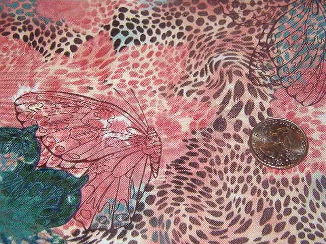 """Butterflies Flowers Leopard Spots in Dark Green, Rose, Brown Cotton Fabric 1yd x 44"""" wide"""