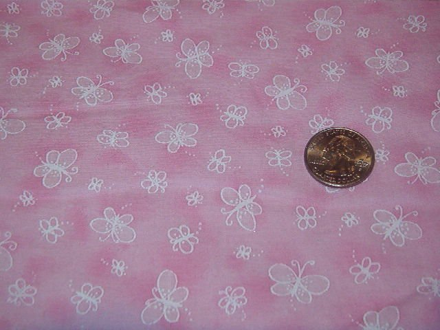 """White Butterflies on Pink Background  Cotton Fabric 1 3/4 yds x 44"""" w"""