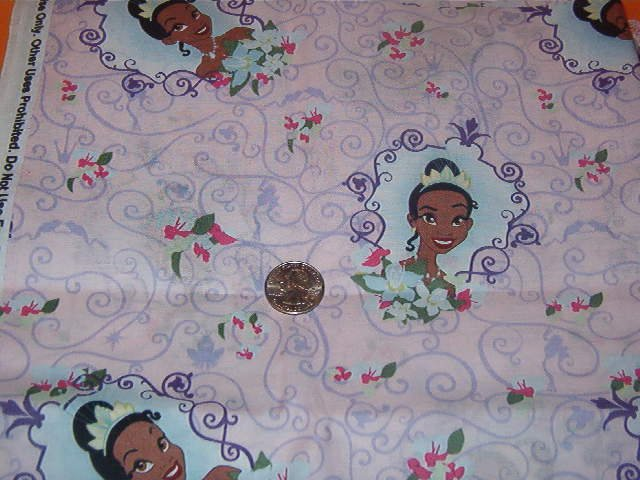 """Little Princess on Pink Background with Purple Scrolls Cotton Fabric  1 1/2 yd x 45"""" w"""
