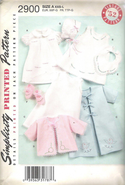2008 Simplicity 2900 Pattern  Vintage 1952 Repro  Dress Slip Bib Booties Bonnet Jacket  XXS-L  Cut L
