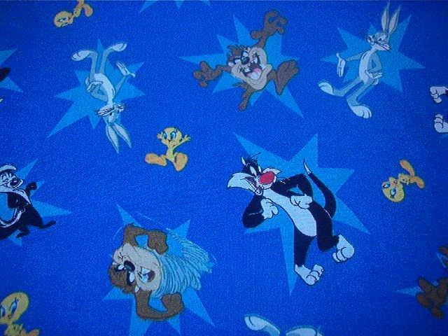 "Sylvester Tweety Tazmanian Devil on Blue Background Cotton Fabric 1yd x 44""w"