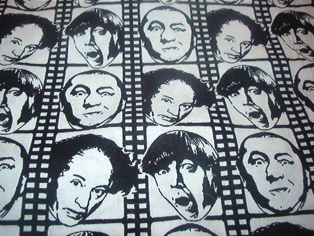 "Three Stooges Larry Moe Curly Black and White Filmstrip Cotton Fabric  37""L x 42""W"