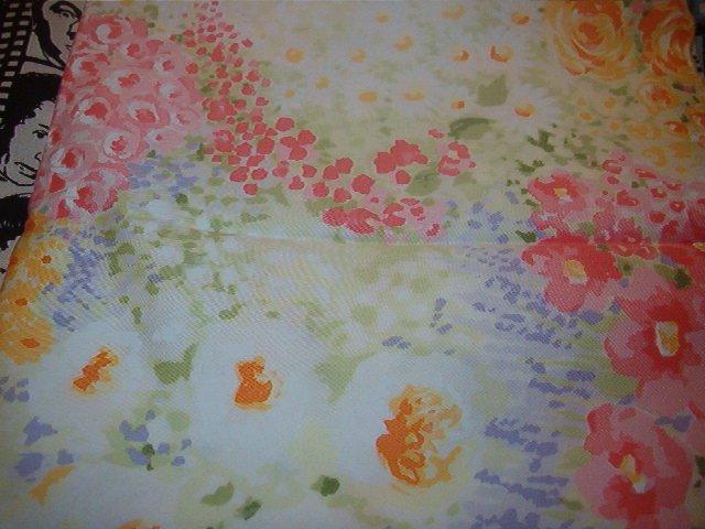 "Pastel Floral Pink, Purple, Green, Orange, Yellow, White Cotton Fabric 1/2 yd x 56""w"