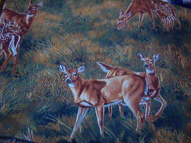 """Deer and Fawn in Grass Brown, Green, Gold  Cotton Fabric  37""""L x 44""""W"""