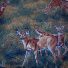 "Deer and Fawn in Grass Brown, Green, Gold  Cotton Fabric  37""L x 44""W"