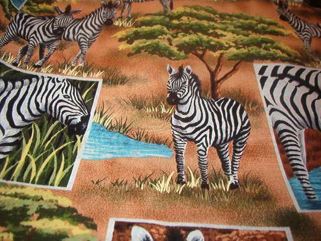 "Zebra Safari Collage  Browns Gold Greens Blues Black White Cotton Fabric  38""L x 45""W"