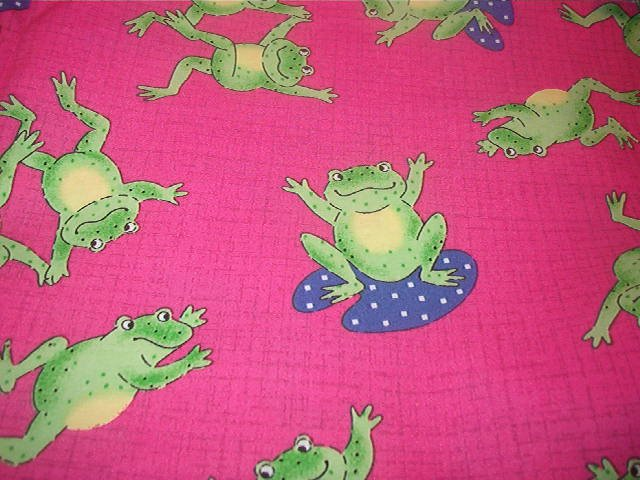 "Dancing Frogs Lilly Pad Frog Green Yellow Purple on Pink Cotton Fabric  26""L x 45""W"