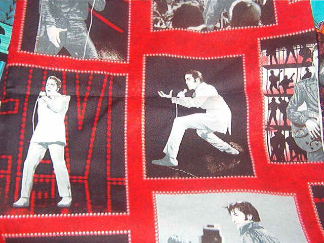 "Elvis Jail House Rock and Other Photos Red Black Cotton Fabric 17""L x 45""W"