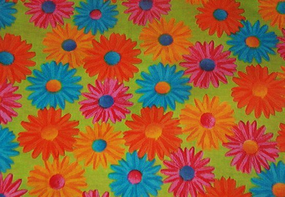 "Bright Blue Pink Orange Daisies on Green Background Cotton Fabric 19""L x 45""W"