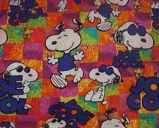 "Snoopy Joe Cool in Purple White on Multi-color Background Cotton 19""L x 36""W"