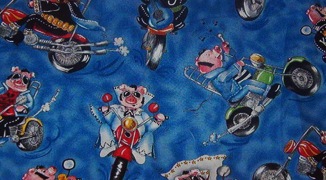 """Hog Motorcycle Riders Red Green Yellow Black Blue Cotton Fabric 1/2 yd x 45""""W"""