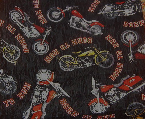 """Born to Run Motorcycles in Red Black White Cotton Fabric  3/4yd x 45""""W"""