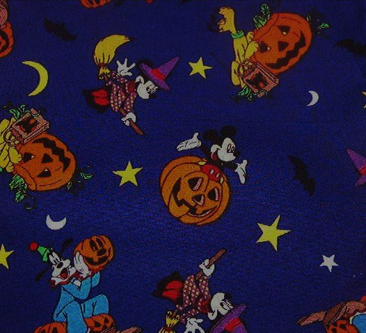 Mickey Mouse Goofy Halloween Orange Pumpkins Yellow Stars Moons Black Bats Purple Fabric  2 pcs