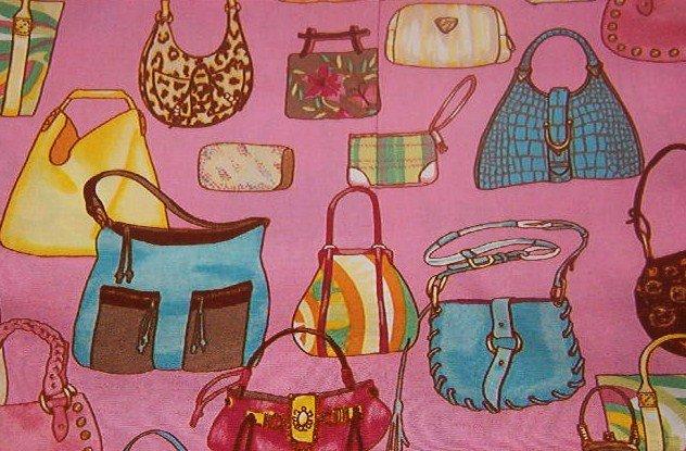 "Purse Handbag Pocketbook Tote on Pink Background Cotton Fabric  18"" x 44"""