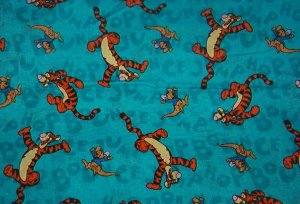 "Tigger and Roo with Hop Bounce Jump on Turquoise Background Cotton Fabric  10""L x 46""W"