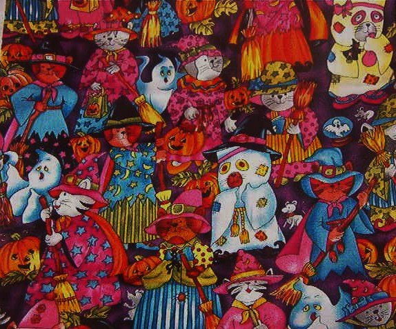 "Halloween Cats Cotton Fabric  2 Pieces  22 1/2""L x 13""W and 8 1/2""L x 31""W"