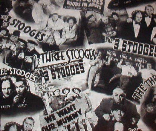 """Three Stooges Movie Scenes  Cotton  Fabric  37""""L x 44""""W"""