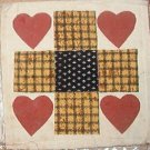 "Country Clutter Hand Made Patches Quilt Squares Hearts 5 1/2"" x 5 1/2"""