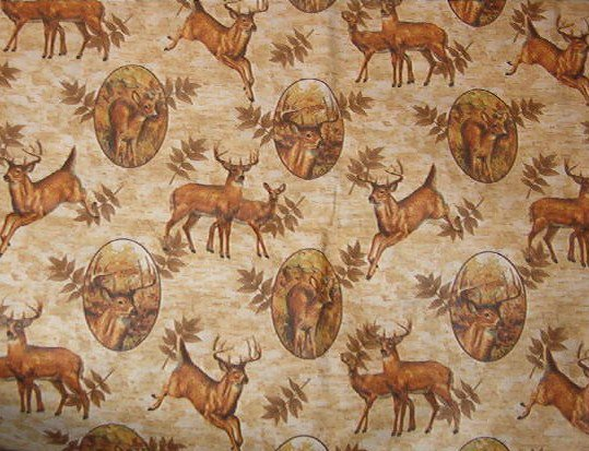 "Deer Stag Doe Fawn Leaves on Cotton Fabric  1 yard x 44""  wide"