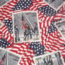 "Vintage 2001 Heros USA Stamps on Flags  Cotton  Fabric  1 1/8yds x 45"" wide"