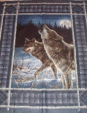"""Howling Wolf Panel with Native Border  Cotton Fabric  1yd x 45"""" wide"""