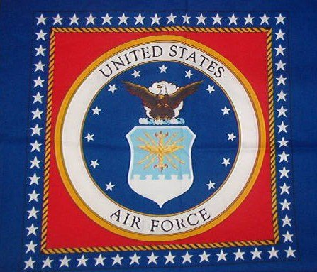 Four Panels United States Air Force  Cotton Fabric  1 yd x 5/8 yd