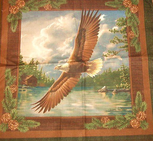 Two Panels each of Eagles Perched and In Flight  Cotton Fabric  1yd w x 1/2 yd l