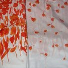 "Orange ""Garden Picnic"" Flora Border with Leaves above.  Cotton Fabric  10 1/16yds x 44""wide."