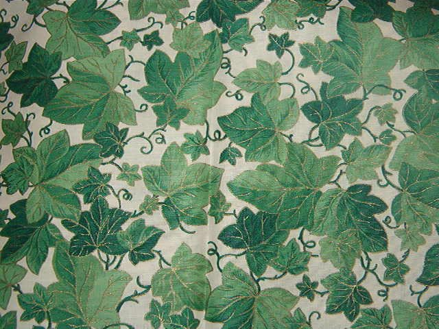 "Ivy Print on White Background  Cotton Fabric  1 yard x 46"" wide"