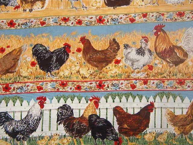 "Hens Chicks ""Chicken Walk"" by Makower UK England  Cotton Fabric  1yd x 44"""