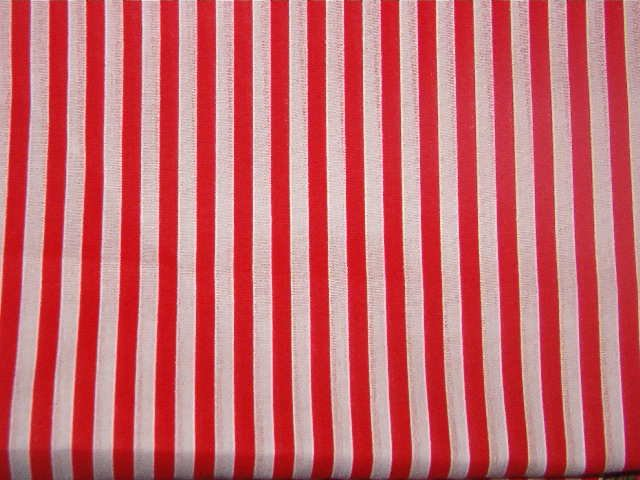 "Red and White 1/4"" Stripes Cotton Fabric 1 yd x 46"" wide"