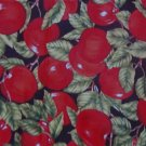 "Red Apples Green Leaves Black Background  Soft Cotton Fabric  3 1/8yd x 46""wide"