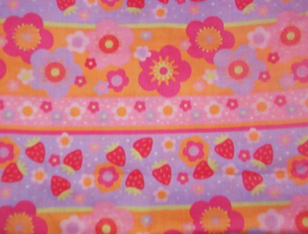 "Strawberry Shortcake Striped Flowers Strawberries Cotton Fabric  1 1/16 yd x 45"" wide"