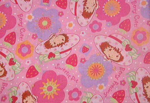 "Strawberry Shortcake ""Berry Cute"" ""Sweetie Pie"" Flowers Fabric   1 1/16 yd x 45"" wide"
