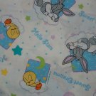 "Baby Bugs Tweety ""Sweet Dreams"" ""Hello Stars"" Stars, Moon on White Fabric  2 3/8 yds x 45"" wide"