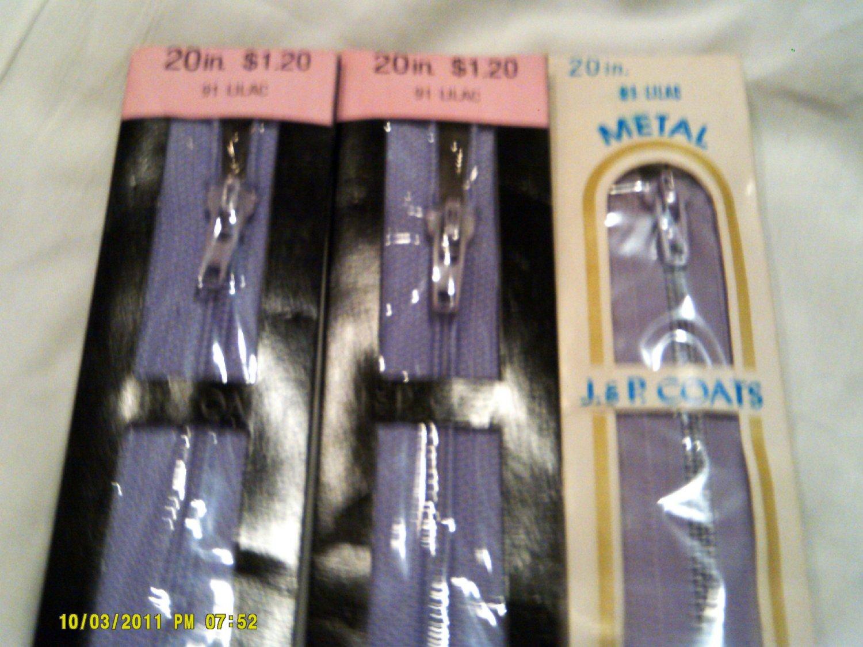 """20"""" Lilac J&P Coats All Purpose Metal Zipper"""