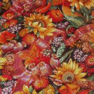 "Sunflowers Fruits Vegetables Fall Thanksgiving Colors Fabric 5 1/8 yds x 45""w"