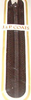 "11"" J&P Coats Cloister (Dark) Brown Metal Trouser Pants Zipper"