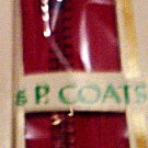"7"" J&P Coats Red All Purpose Metal Zipper"
