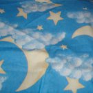 "Yellow Moon Stars White Clouds on Blue Fabric  21""w x 2 7/8 yds"