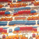 "Trains in Blue Red Brown Gold Fabric  22"" w x 23"" L"