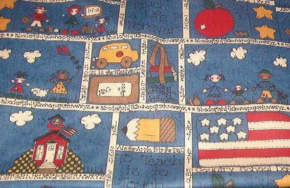 """Old Fashioned Country School Days Fabric  28""""w x 1 yd +  5"""""""