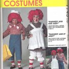 McCalls 7743 (1995) Pattern Adult & Children Raggedy Ann and Andy Costumes Large Uncut