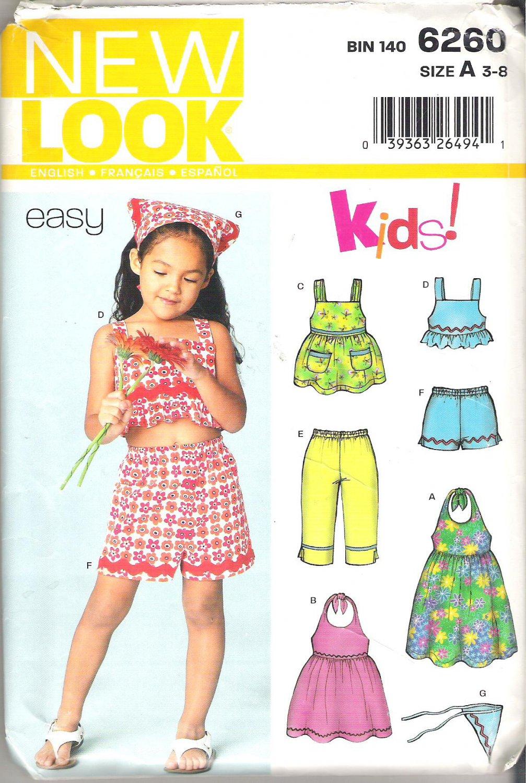 New Look Kids! 6260 Pattern Girls Shorts Top Capri Pants Sundress Kerchief  Size 3-8 Partial Cut